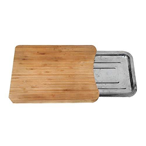 xutu Tabla de Cortar de Cocina de Bambú Tabla de Cortar con Bandeja deslizante Bloque de Cortar Hogar Antideslizante Tabla de Cortar de Madera Accesorios Ecológicos Durable