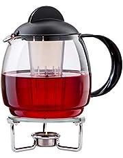 """Boral Zestaw dzbanków do herbaty z podgrzewaczem """"Clear"""" 1,8 l dzbanek do herbaty ze szkła z sitkiem i podgrzewaczem herbaty ze szkła Ø 14 cm"""