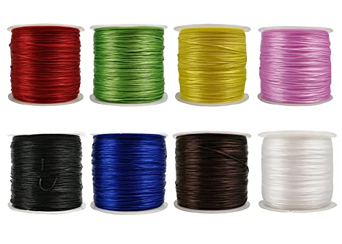 Moon Waves Elastic String 0.8MM Flat 8 Colors Set Bracelet String Cord Stretch Bead Cord for Jewelry Making and Bracelet Making (8 Basic Colors)