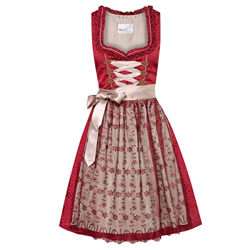 MarJo Trachten Damen Trachten-Mode Midi Dirndl Samanda in Rot traditionell