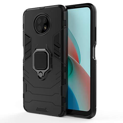 GOGME Funda para Xiaomi Redmi Note 9T 5G, Shockproof Carcasa con 360 Grados Giratorio Anillo Kickstand y Soporte de Coche Magnético, Hard PC y Silicona TPU Tough Armor Case Cover. Negro