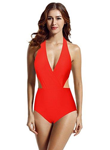 zeraca Women's Surplice Neckline High Waisted Halter One Piece Monokini Swimsuit (Red Ignited, X-Large / 18)