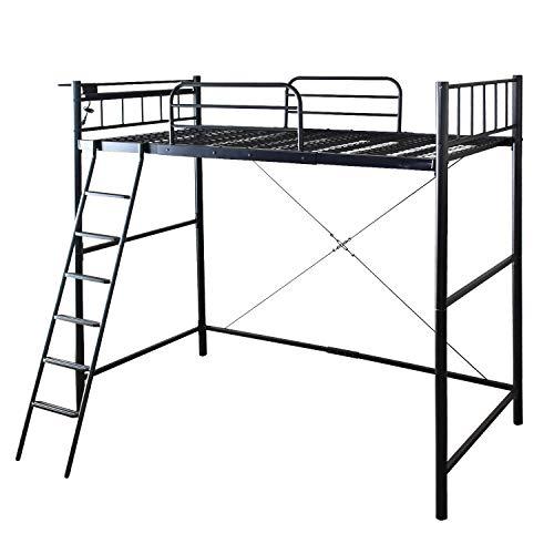 DORIS ベッド シングル システムベッド ロフトベッド ベッドフレーム ロータイプ可 コンセント付き 太パイプ メッシュ床 ブラック カノン