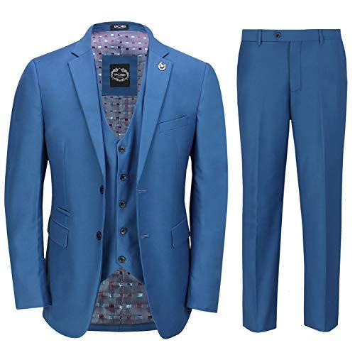 3 Piezas Traje De Negocios De Los Hombres En Azul Elegante Informal Clásico De Ajuste A Medida Que La Oficina del Trabajo Formal [SUIT-JROSS-BLUE-36UK]
