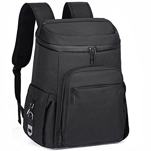 Vorspack Cooler Backpack Insulated Lunch Backpack 36 Cans Leakproof Camping Cooler Lightweight for Work Beach Picnic Camping Hiking Fishing for Men - Black