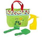 Small Foot 11172 Raupe Nimmersatt Gartentasche mit Schaufel, Harke und Sprühflasche Spielzeug, Mehrfarbig