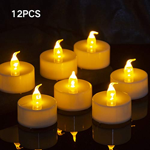 Geisofu Pack of 12 Flameless Candles Realistic Tea Lights Candles Flickering Bright Tealights Long Lasting Yellow Warm Light Candles for Festival Celebrations(Set of 12)