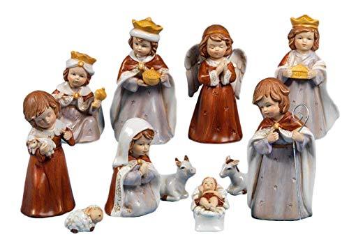 PABEN Presepe Completo Natività di Natale in Porcellana Bambini Set 11pz 16cm