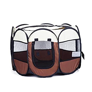 1PC Waterproof Oxford Fabric Portable Foldable Pet Removable Zipper Top Kennel for Outdoor Dog Cat Home  Blue Beige