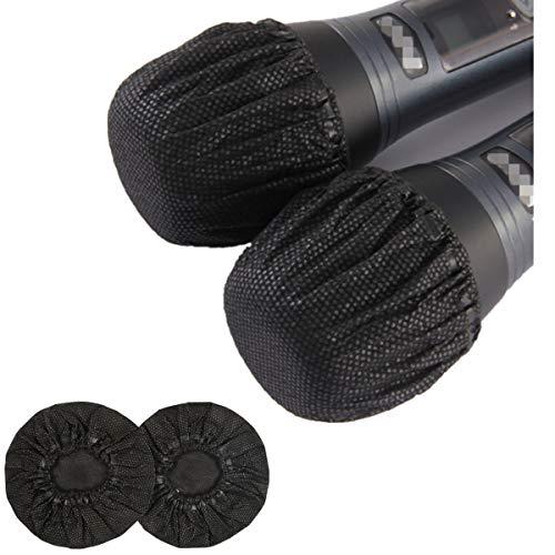 YianBestja 100 unidades desechables de tela no tejida para micrófono inalámbrico, cubierta para micrófono de karaoke actuaciones en directo fiesta escuela (Negro)