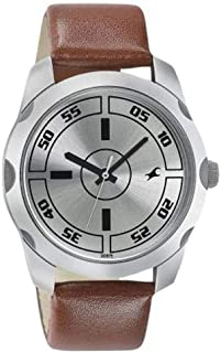 Fastrack Casual Men's Silver Dial Leather Band Watch - T3123SL02