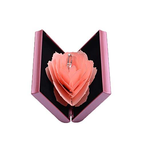 HSKB Ringschatulle Rose Blume Ring Box Ring Ohrring Geschenk Storage Ringschatulle Schmuckkästchen 3D Pop Up Rose Ehering Box Valentinstag Ring Schmuckschatulle Verlobungsring Schachtel (Pink)