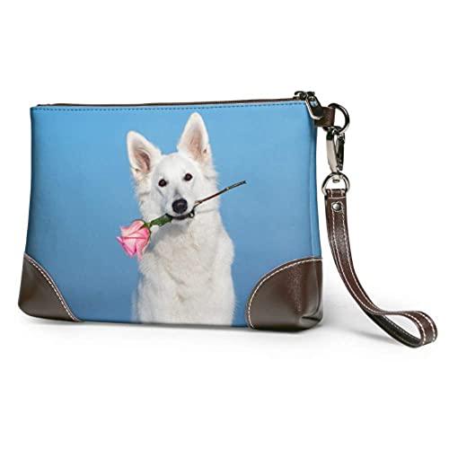 Bolso de mano de cuero suave impermeable para mujer perro acostado en la cama lleno de flor roja cartera de cuero con cremallera para mujeres y niñas