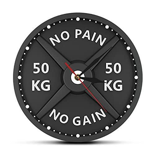 xinxin Reloj de Pared No Pain No Gain 50Kg Barbell 3D Reloj de Pared Moderno Levantamiento de Pesas Mancuerna Bodybuilding Reloj de Pared Gimnasio Entrenamiento Strongman Gift