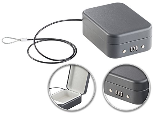 Xcase Autotresor: Mini-Stahl-Safe für Reise & Auto, Zahlenschloss, Sicherungskabel, 0,7l (Reisetresor)