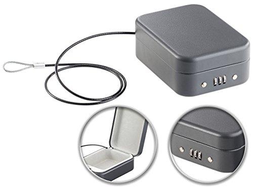 Xcase Autotresor: Mini-Stahl-Safe für Reise & Auto, Zahlenschloss, Sicherungskabel, 0,7l (Reisesafe)
