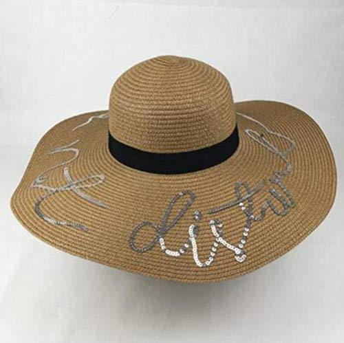 ABO Sombrero plegable de pajita de color caramelo con letras de lentejuelas, con bordado de lentejuelas, para mujer