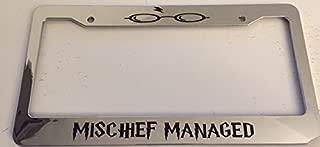Mischief Managed Hogwarts Style - Chrome Automotive License Plate Frame - Potter Style