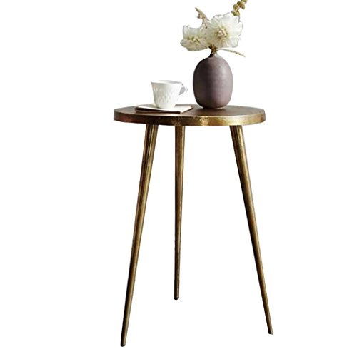 Lzz Vintage en fer forgé ronde table d'appoint Petite table basse salon canapé table d'appoint moderne minimaliste table basse en fer forgé taille: 40 * 55cm