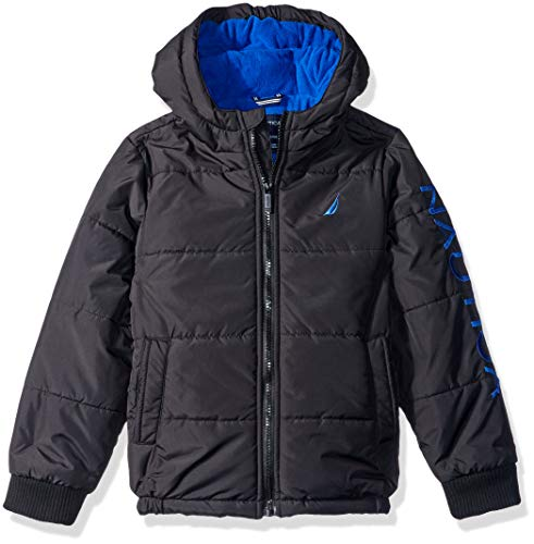 Nautica Boys' Little Water Resistant Signature Bubble Jacket with Storm Cuffs, Austin Black, Small (4)