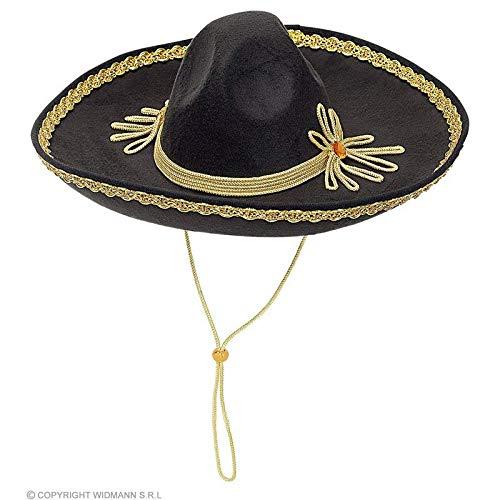 Lively Moments Sombrero in schwarz mit Goldfarbener Kordel / Mexikanerhut / Kostüm Zubehör