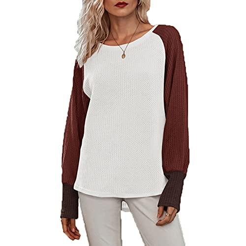 Primavera Y Verano Mujer Casual Cuello Redondo Costura Suelta Camisa De Fondo De Manga Larga SuéTer Camiseta Mujer