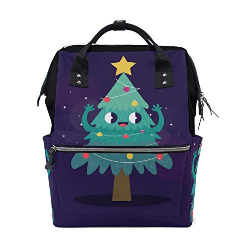 Süßer Cartoon-Weihnachtsbaum Smiley Stern Windeltasche Mumientasche Große Kapazität Multifunktions-Rucksack für Reisen
