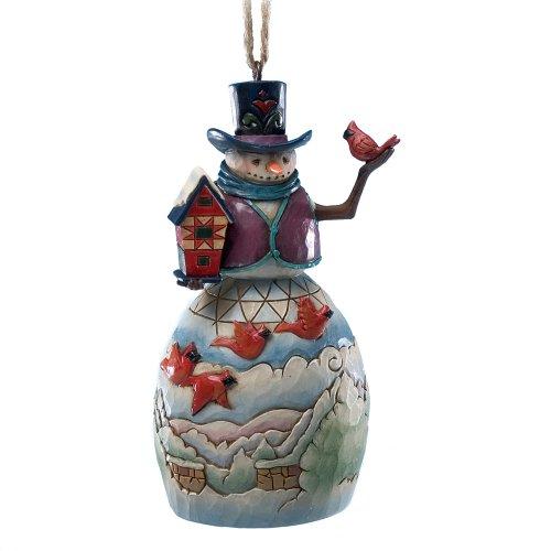 Enesco Jim Shore Heartwood Creek Snowman with Cardinals Ornament, 4-Inch