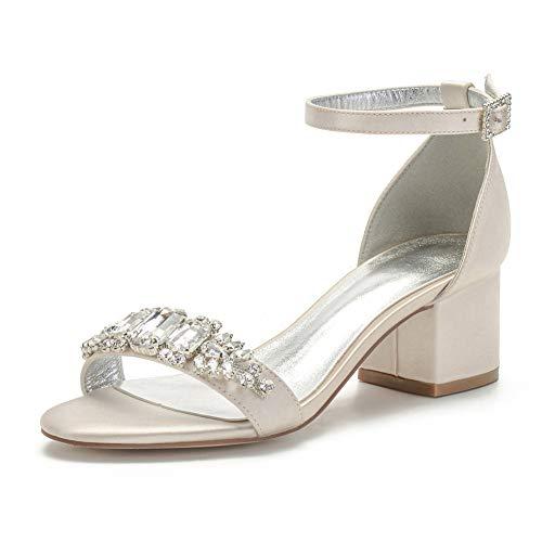LGYKUMEG Damen Brautschuhe, Peep Toe High Heels Sandalen mit Strass Satin Hochzeitsschuhe,Champagne,42EU/11US/9UK