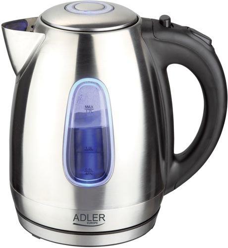 Adler AD 1223 Wasserkocher 1,7 L, silber/schwarz
