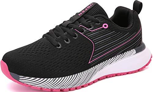 UBFEN Walkingschuhe Damen Herren Laufschuhe Sportschuhe Turnschuhe Joggingschuhe Traillauf Schuhe Straßenlaufschuhe Sneaker für Indoor Outdoor Fitness 39 Schwarz Pink