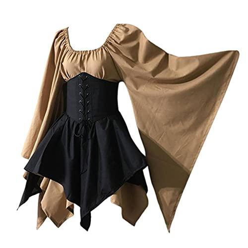 sujinxiu Robe Gothique pour Femme Costume Renaissance mdivale Halloween Corset victorien Taille Robe  Manches vases