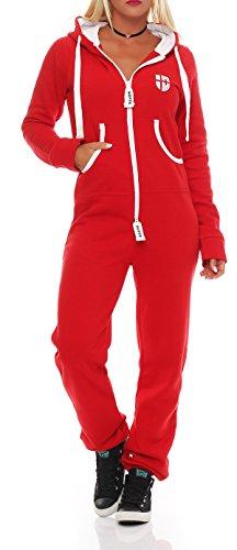 Hoppe Gennadi Damen Jumpsuit Onesie Jogger Einteiler Overall Jogging Anzug Trainingsanzug - Slim FIT,rot,XL
