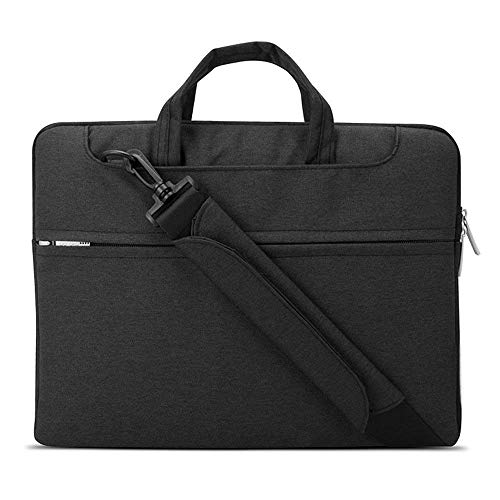 Lacdo 15.6 Inch Waterproof Fabric Laptop Shoulder Bag Notebook Sleeve Case Compatible MacBook Pro 15.4-inch 2012-2015 / Protective 15.6' Ultrabook ASUS Acer Inspiron Lenovo HP Chromebook, Black