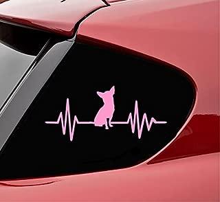 Slap-Art Chihuahua heartbeat dog pet animal service Vinyl Decal Sticker (Soft Pink)