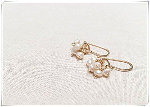 no see long time Pendientes de Perlas Simples sin Ver largas Perlas, Gotas de Clúster, Relleno de Oro Amarillo, Perlas Blancas Pequeñas, Piedra Natal