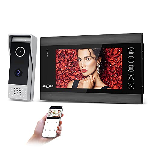 JeaTone Videocitofono WiFi con sistema Intercom 7 pollici 960P WiFi Tuya Monitor con telecamera esterna cablata, telecomando per telefono con sblocco, controllo e conversazione