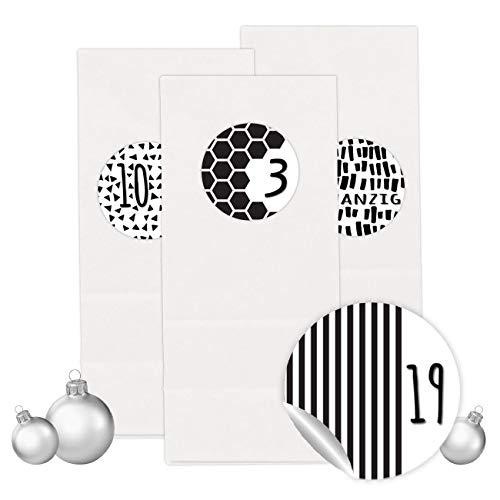PaPIerDraCHeN Adventskalender Set - 24 Weiße Papiertüten mit 24 Schwarz-weißen Zahlenaufklebern - zum Selbermachen - Adventskalender zum Befüllen - Mini Set 4 - von