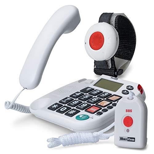 Maxcom KXTSOS: Seniorentelefon mit Funk-Notruf-Sender, schnurgebundenes Festnetztelefon mit Arm- und Halsbandsender, großen Tasten, Adapterstecker, hörgerätekompatibel