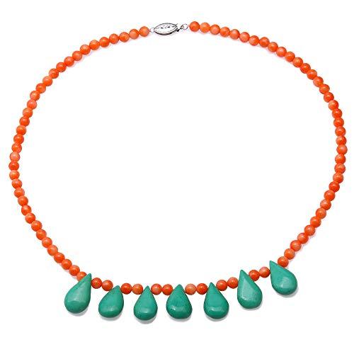 JYX collar de cuentas de gemas 5 – 5.5 redondo naranja coral collar con turquesa para mujer 48 cm