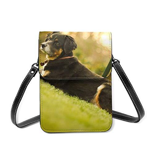 Bolsa de hombro pequeña, bozal para perro, tumbado, silla de hierba, bolsa cruzada para teléfono celular, cartera ligera para mujeres y niñas
