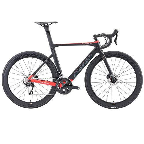 SAVADECK Carbon Rennrad, 700C Scheibenbremse Rennräder T800 Carbon Fahrrad mit Shimano 105 R7020 22 Gänge Gruppensatz, Carbon Radsatz und hydraulischer Scheibenbremse (Schwarz rot, 51cm)