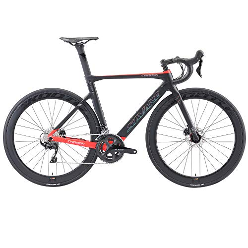 SAVADECK Bici da Strada in Carbonio,700C Bicicletta da Corsa in Fibra di Carbonio Completa con Gruppo Shimano Ultegra R8000 22S e Sistema di Freno a Disco Idraulico