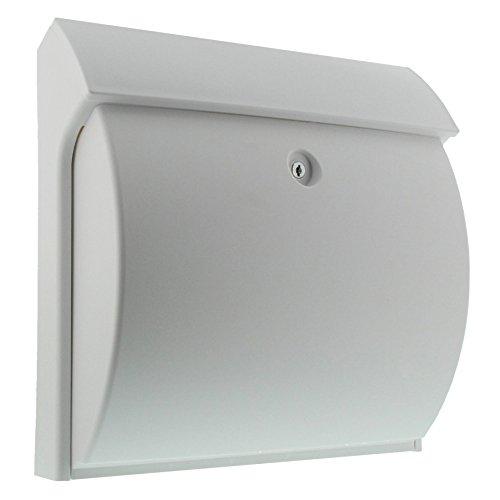 BURG WÄCHTER Kompakter Briefkasten mit Öffnungsstopp, A4 Einwurf-Format, Vollkunststoff, Classico 4931 W, weiß