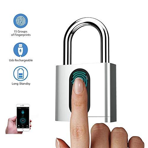 N / A Fingerprint Electric Smart Door Lock, IP65 Waterproof Anti-Theft Stainless Steel Padlock, USB Recharge, Biometric Door Lock Outdoor Combination Padlock Weatherproof