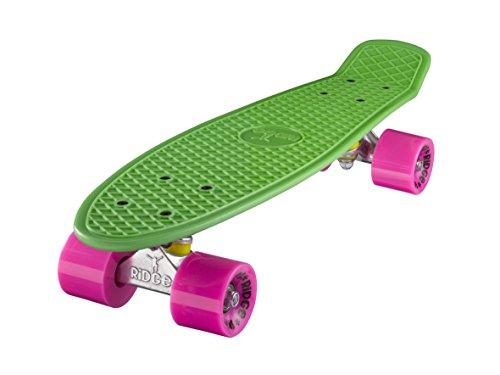 Ridge Skateboard 55 cm Mini Cruiser Retro Stil In M Rollen Komplett U Fertig Montiert Grün Rosa,