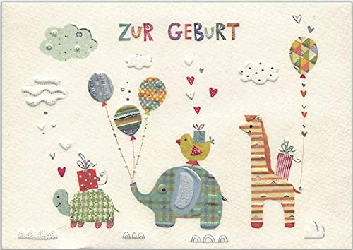 Glückwunschkarte zur Geburt mit süßer Tier-Parade - hochwertige Umschlag-Karte von Turnowsky