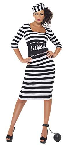 Smiffy'S 22119L Disfraz De Presa Elegante Con Vestido Ceñidor De Cintura Y Gorro, Negro / Blanco, L - Eu Tamaño 44-46