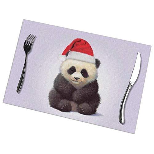 Pandas - Juego de 6 manteles individuales estampados con gorro de Papá Noel, mantel individual lavable para mesa de comedor, para cocina, comedor, decoración del hogar, 12 x 18 pulgadas