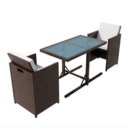 vidaXL Conjunto de Muebles de Jardín 7 Piezas Poli Ratán Sintético Color Marrón